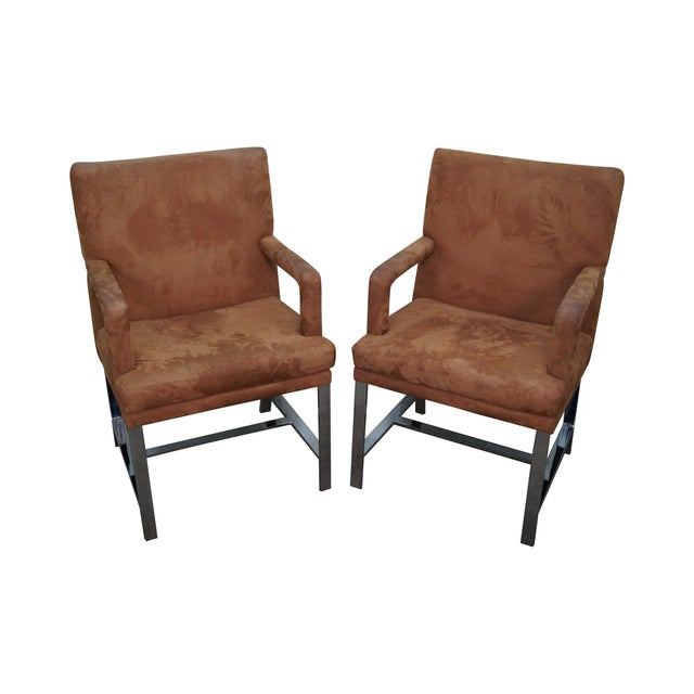 Milo Baughman Mid-Century Chrome Chairs - A Pair For Sale