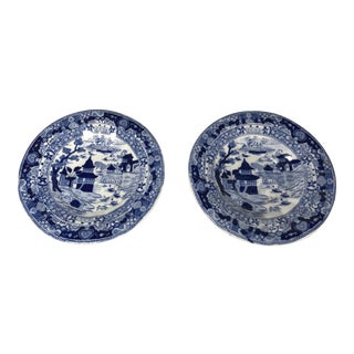 Vintage Ashworth Brothers Uk Blue and White Small Plates Saucers - a Pair For Sale