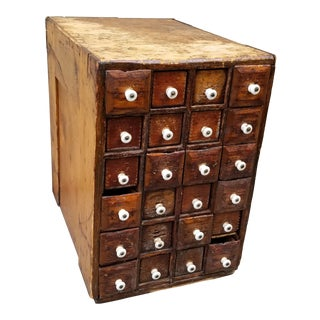 Antique Primitive Early American Patinated Apothecary Cabinet With Porcelain Handles For Sale
