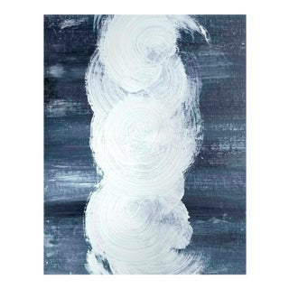 Modern Abstract Original Art Painting Circles Grey Gray White Blue For Sale