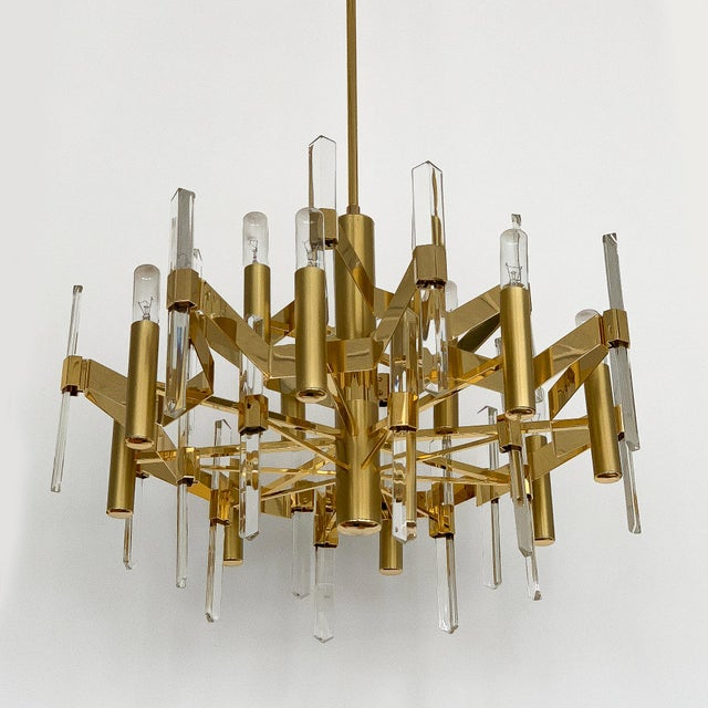 Gold-Plated Brass and Crystal Chandelier by Gaetano Sciolari For Sale - Image 10 of 12