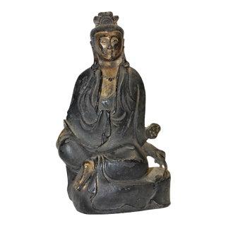 19th Century Bronze Peace Guan Yin Statue For Sale