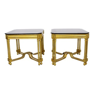 1950s Mid Century Modern Gold Gilt Smoked Glass Side Tables - a Pair