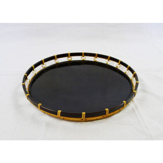 Vintage Black Lacquer Pearl & Bamboo Tray - Image 2 of 4