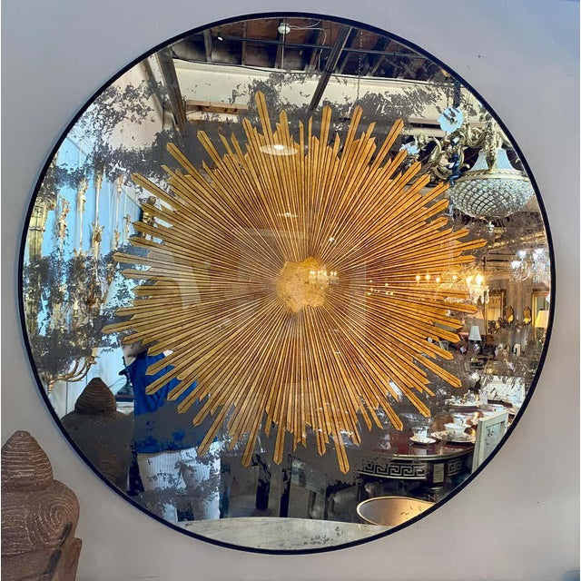 Monumental Gilt Gold & Silver Glass Sunburst Mirrors or Table Top Pair For Sale - Image 12 of 13