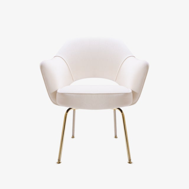 Contemporary Saarinen Executive Arm Chairs in Crème Velvet, 24k Gold Edition - Set of 6 For Sale - Image 3 of 11