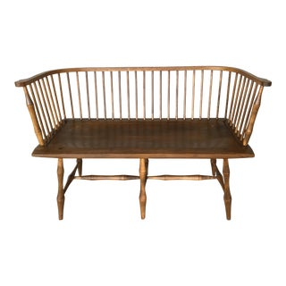 Vintage Solid Maple Windsor Style Deacons Bench For Sale