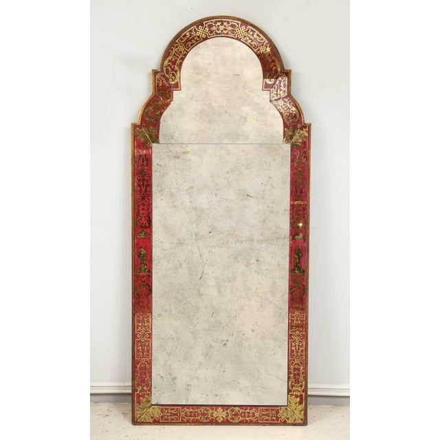 "Queen Anne Reverse-Painted ""Verre Eglomise"" Mirror For Sale - Image 10 of 10"