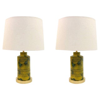 1970s Italian Ceramic Table Lamps by Bitossi - a Pair For Sale