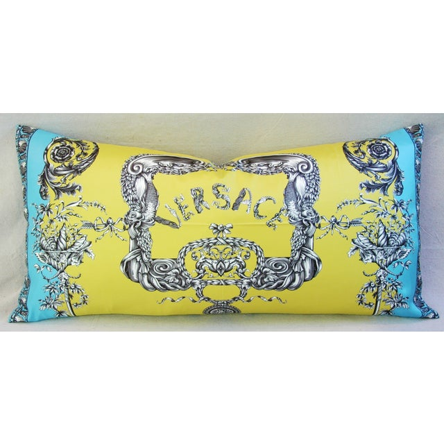Large Designer Italian Versace Silk Scarf Pillow - Image 7 of 8