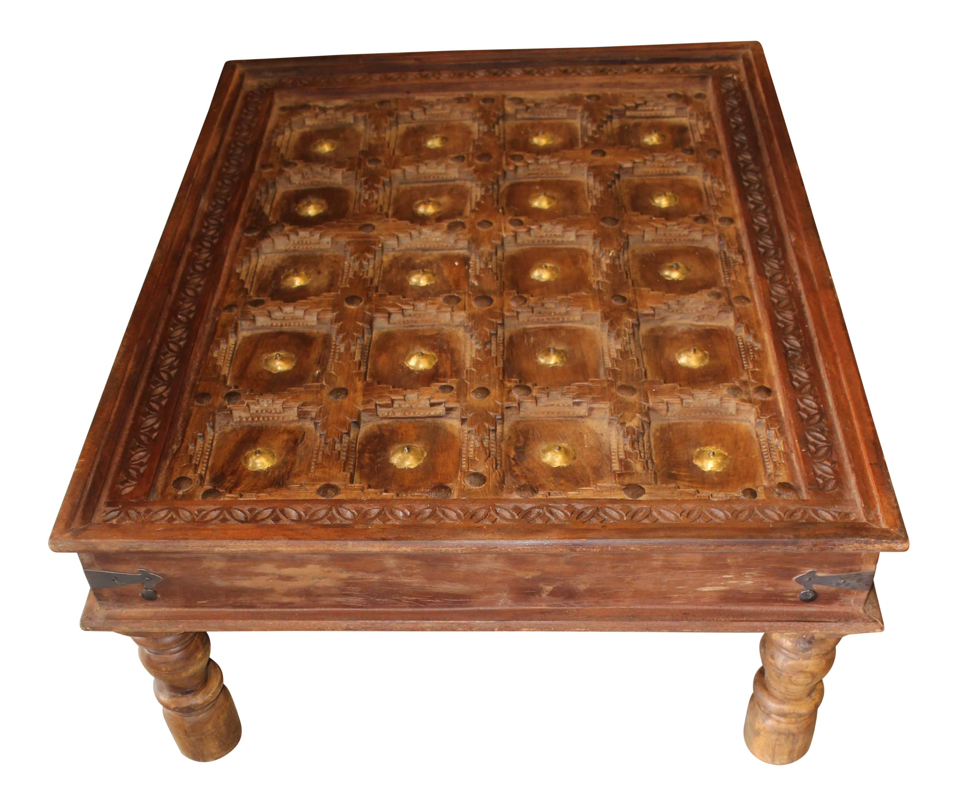 Gentil Rustic Hand Carved Coffee Table With Reclaimed Brass Stars