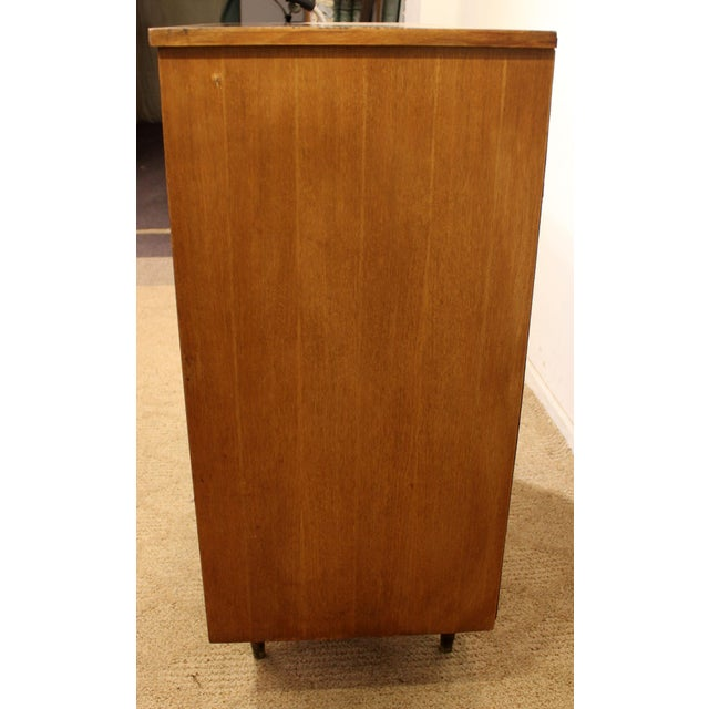 Danish Modern Mid-Century Danish Modern Curved Front Walnut Tall Chest Dresser For Sale - Image 3 of 11