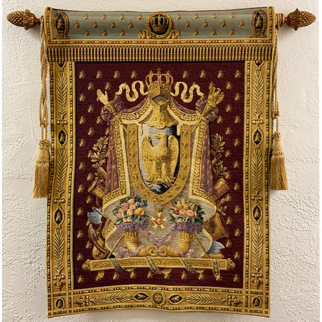 Large Tapestry Coat of Arms With Golden Eagle For Sale In Monterey, CA - Image 6 of 6