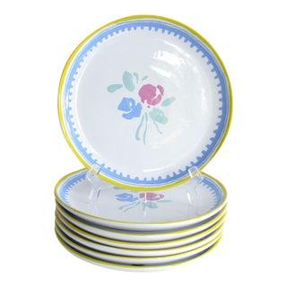 Vintage Porta Soleil Raúl De Bernarada Portugal Dinner Plates Designed by Ken Cornet - Set of 7 For Sale