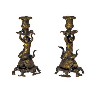 French Bronze Candlesticks of a Sea Nymph Riding a Turtle - A Pair