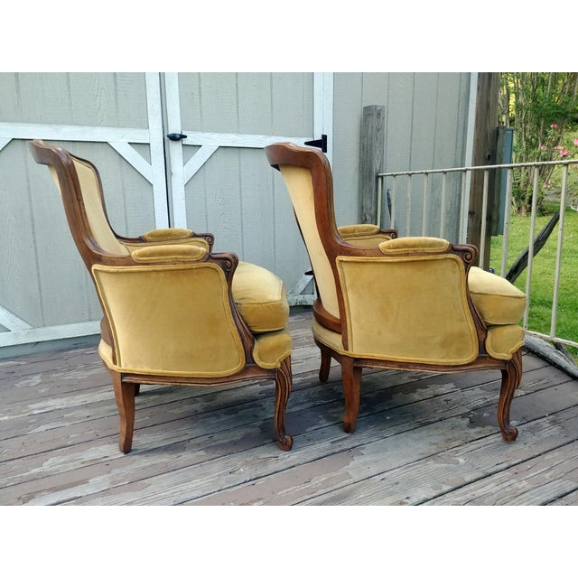 1940s Vintage Meyer Gunther Martini Louis XV Carved Hardwood Bergere French Chairs- a Pair For Sale - Image 5 of 13