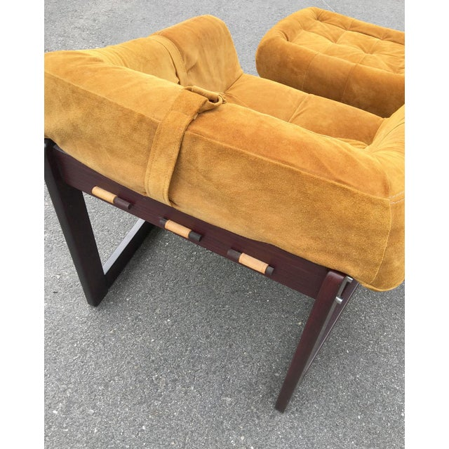 Percival Lafer Brazilian Rosewood & Suede Lounge Chairs - A Pair For Sale - Image 5 of 11