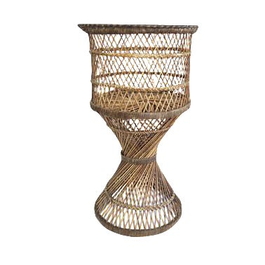 Vintage Natural Rattan Round Tall Pedestal Planter Plant Stand Holder - Image 1 of 2