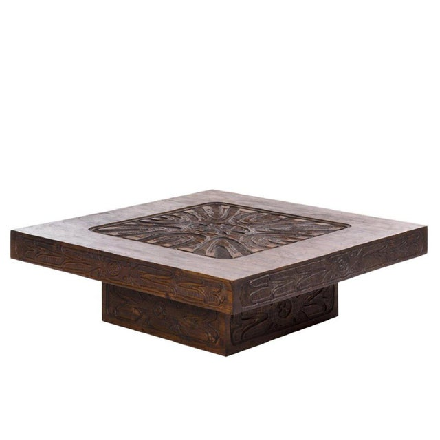 Abstract Monumental Carved Abstract Relief Coffee Table, c. 1960 For Sale - Image 3 of 7