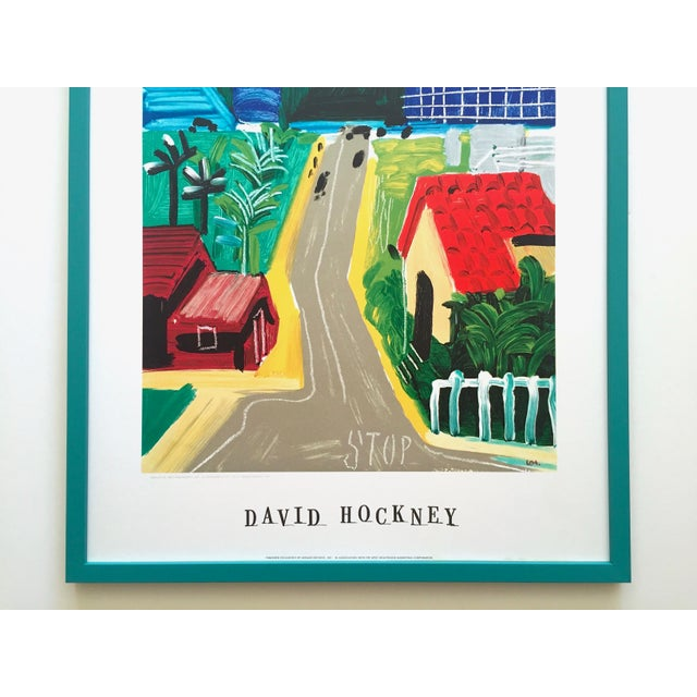 """Contemporary David Hockney Rare Vintage 1989 Lithograph Print Framed Collector's Pop Art Poster """" Hancock St. West Hollywood 1 """" For Sale - Image 3 of 13"""