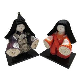 Japanese Sekko Ichimatsu Emperor and Empress - 2 Pieces For Sale