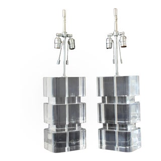 1970s Mid-Century Modern Karl Springer Stacked Lucite and Nickel Table Lamps - a Pair