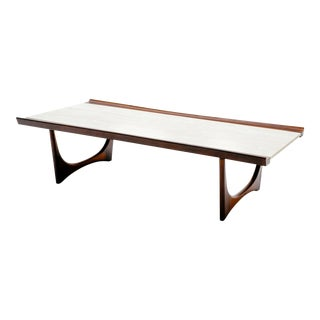 Giuseppe Scapinelli Brazilian Rosewood and Travertine Coffee Table For Sale