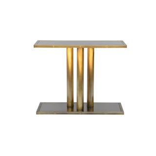 "Contemporary ""Calandre"" Narrow Brass Mirrored Console For Sale"