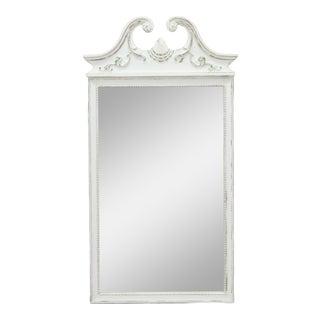 Mid-Century White Mirror, Regency Style Mirror, White Distressed Mirror For Sale