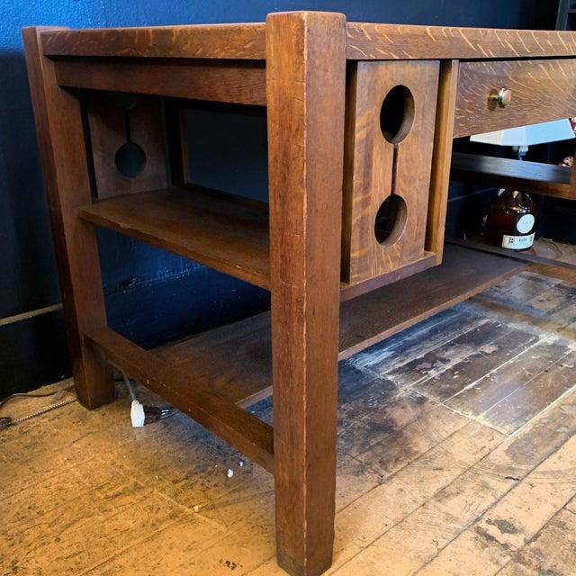 Brown 1930s Wood Craftsman Desk For Sale - Image 8 of 9