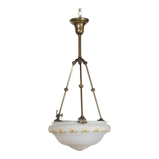 19th Century Yellow Floral Glass Bowl Pendant Light Fixture For Sale