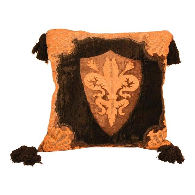 Baroque Silk Velvet Applique Throw Decorative Pillow with Tassels For Sale