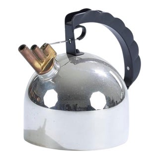 Vintage Post Modern Design Stainless Steel, Plastic, and Copper Tea Kettle Designed by Richard Sapper for Alessi For Sale