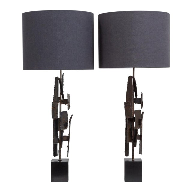 Pair of Brutal Richard Barr Designed Table Lamps Circa 1965 For Sale