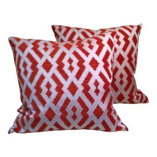 Orange Ikat Chenille Pillows