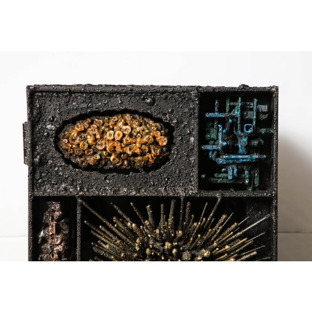 """Gold James Bearden """"Segment Cabinet"""" in Polychromed and Bronzed Steel For Sale - Image 8 of 13"""