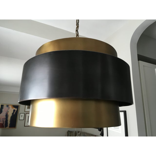 Arteriors Nolan Black Brass Pendant Light Fixture - Image 2 of 3