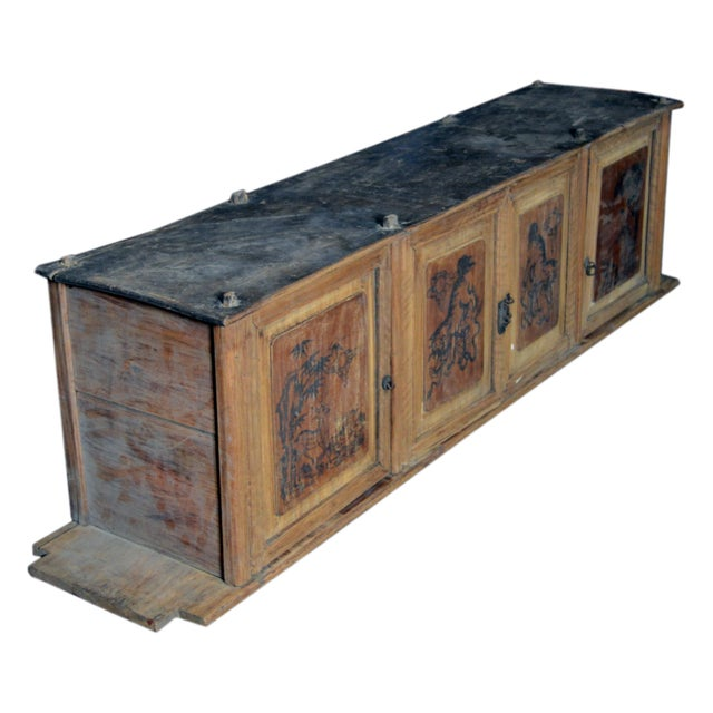 Mid 19th Century 19th Century Chinese Four-Door Low Wooden Cabinet With Hand-Painted Scenes For Sale - Image 5 of 9