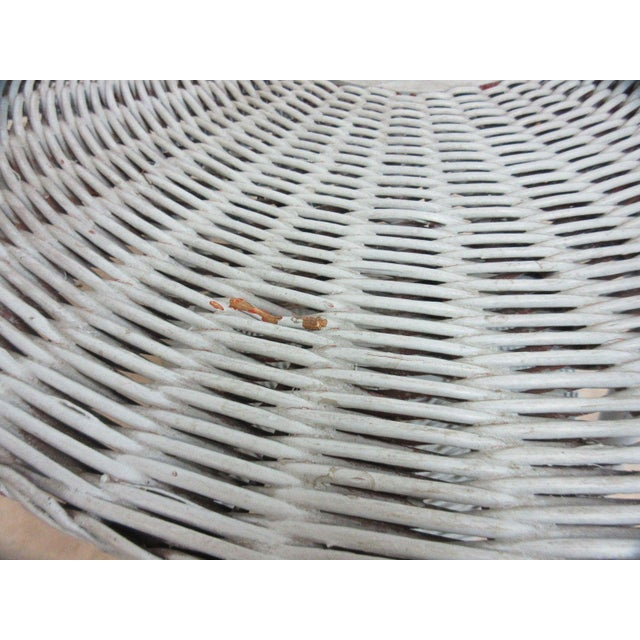 White Antique Victorian Wicker Patio Dinette Table For Sale - Image 8 of 8