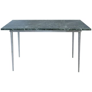 Vintage 1960s Steel and Green Marble Top Table For Sale