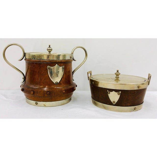 Antique English Oak & Silver Serving Containers - Set of 2 For Sale - Image 13 of 13