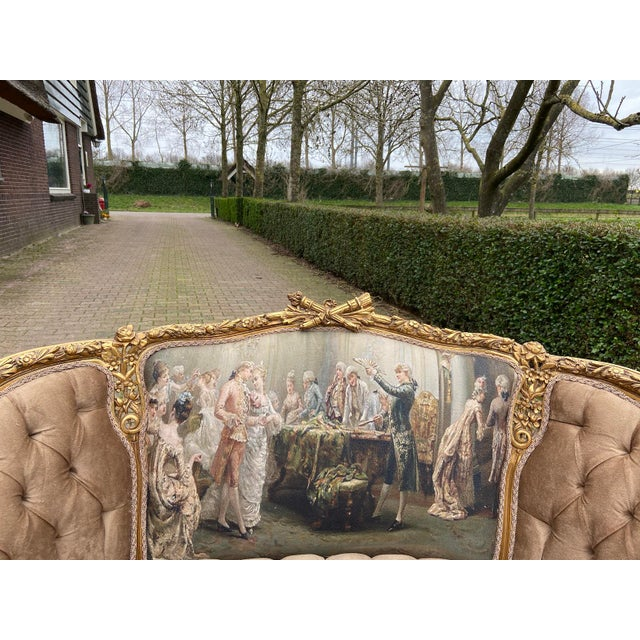 A wonderful French Louis XVI corbeille loveseat/chair/sofa. Custom made, upholstered with cotton & silk gobelin back,...
