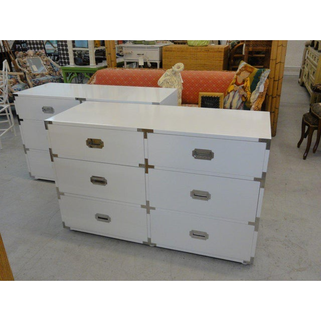 White White Lacquered Campaign Chests - A Pair For Sale - Image 8 of 10