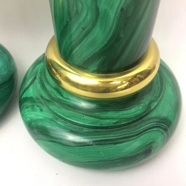 Vintage Piero Fornasetti Style Faux Malachite Candle Holders - A Pair - Image 4 of 8