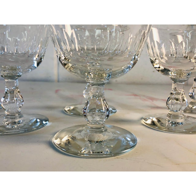 Transparent 1950s Mitred Glass Coupe Stems, Set of 6 For Sale - Image 8 of 9