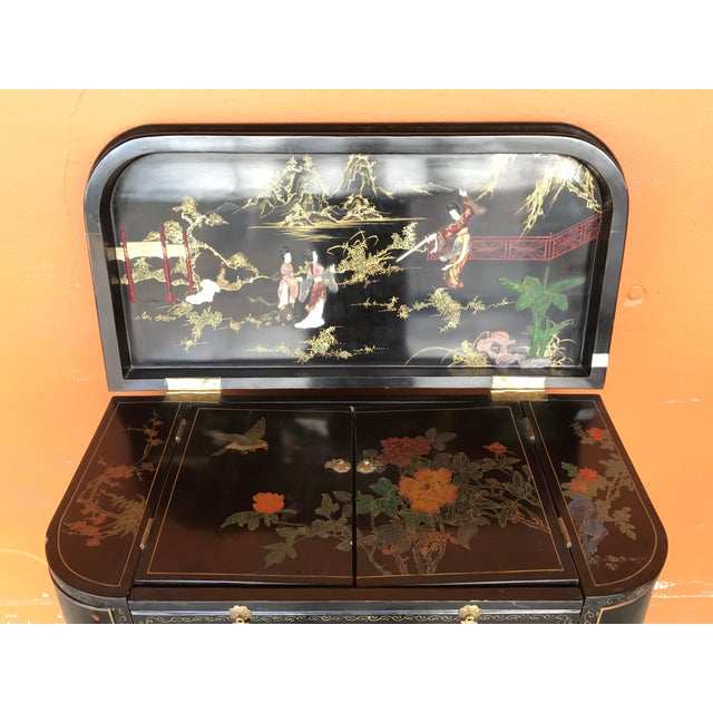 Lacquer and Inlay Hardstone Chinese Dry Bar For Sale In Portland, OR - Image 6 of 8