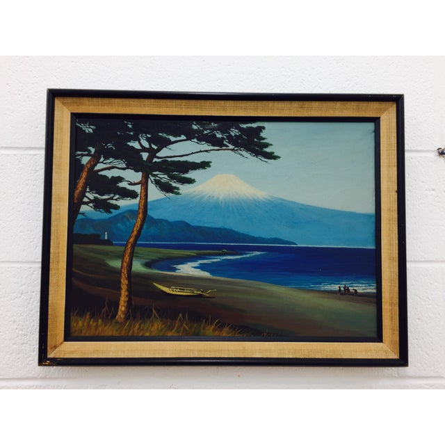 Framed Vintage Island Landscape Oil Painting - Image 4 of 9