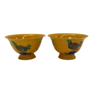 Chinese Hand Painted Emperor Yellow Bowls - a Pair For Sale