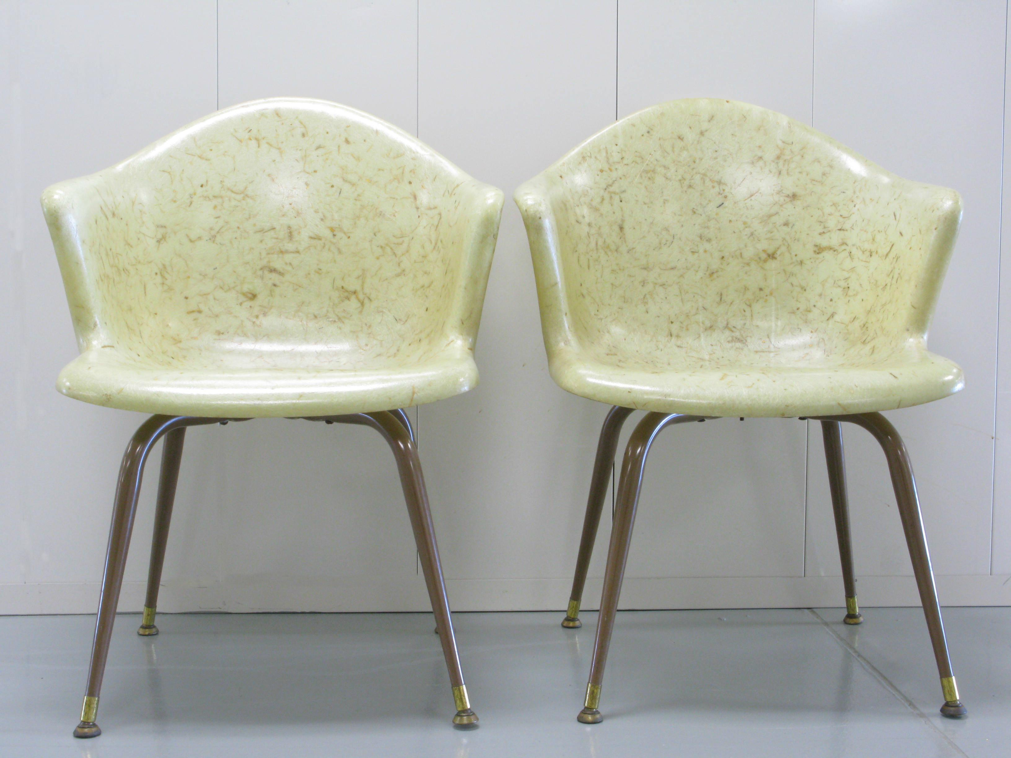 Exceptionnel Eames Era Fiberglass Shell Chairs With Wood Fiber And Gold Fleck Embedded  In Fiberglass Resin. Mid Century Modern ...