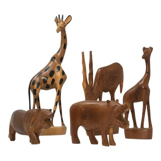 African Hand Carved Wood Animals -Set of 5 For Sale